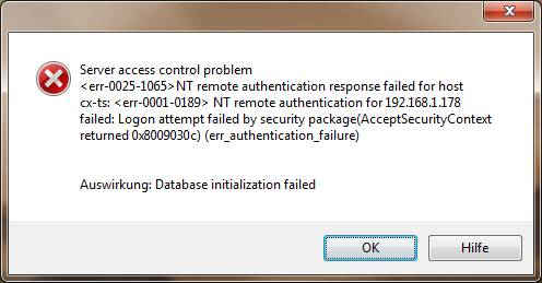 Server access control problem err-0025-1065 NT remote authentication response failed for host err_authentication_failure